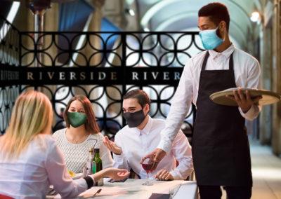 elegant covid coronavirus restaurant barricades with plastic